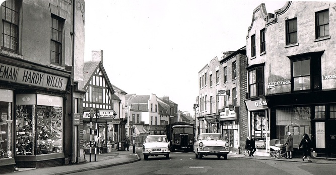Bedworth Town Centre towards the Market Place, in the 1960's